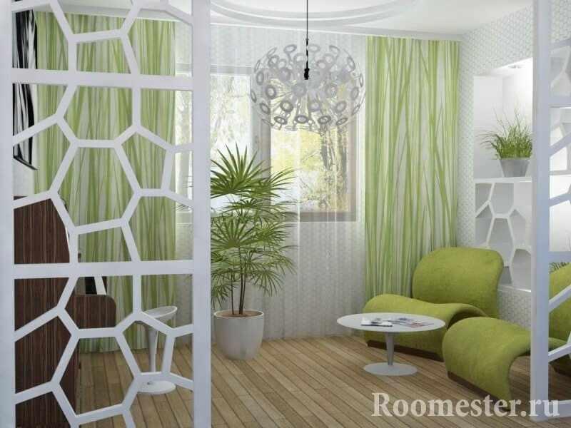 Белый и зеленый в гостиной