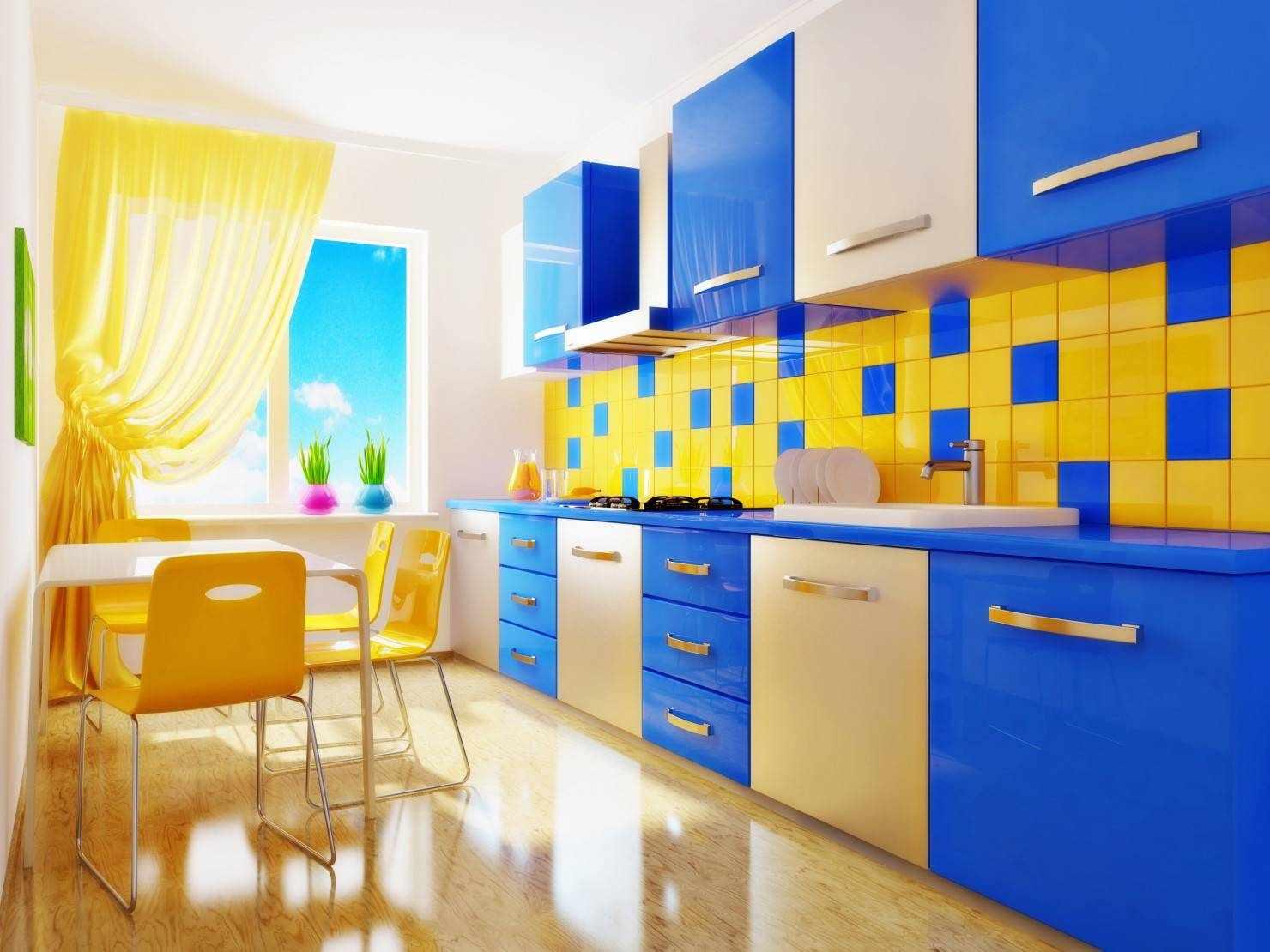 Сине-желтая кухня