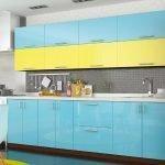 Кухонная мебель с желто-голубым фасадом