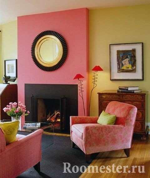 Комбинация желтого и розового цвета