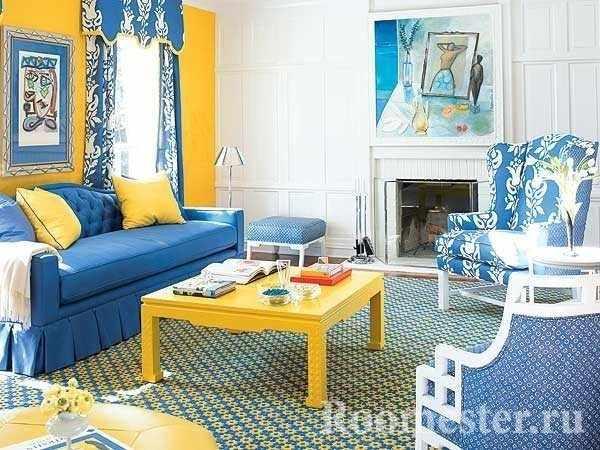Голубой и желтый цвет в сочетании
