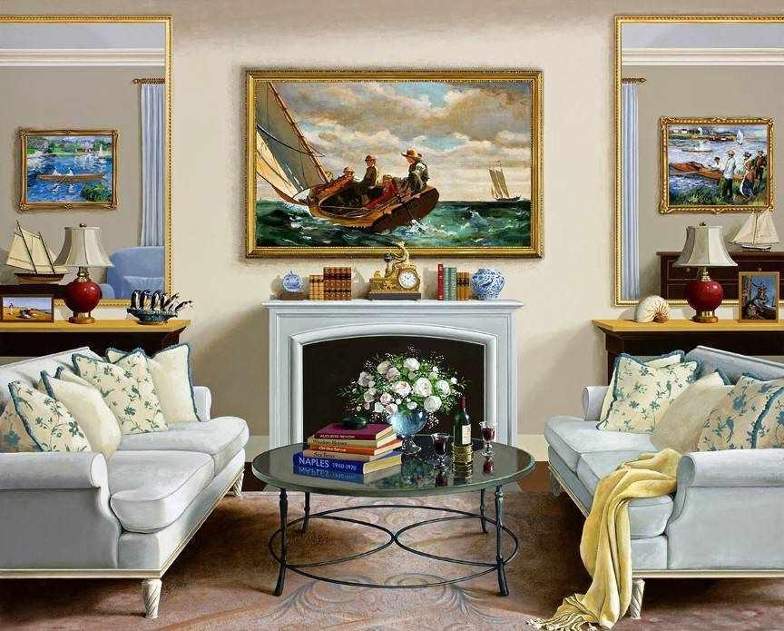 Сочетание картин с декором в интерьере