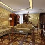 Потолок с подсветкой в дизайне гостиной