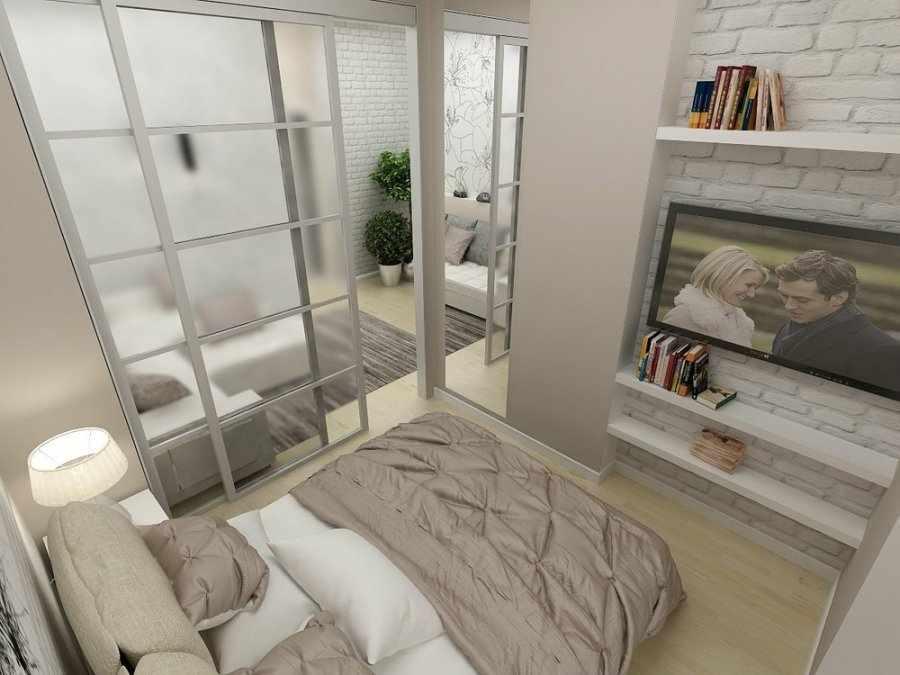 Двери-купе для зонирования спальни-гостиной